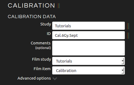 Introducing calibration data