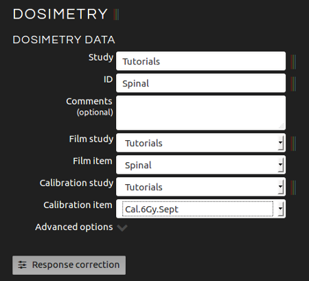 Introducing dosimetry data